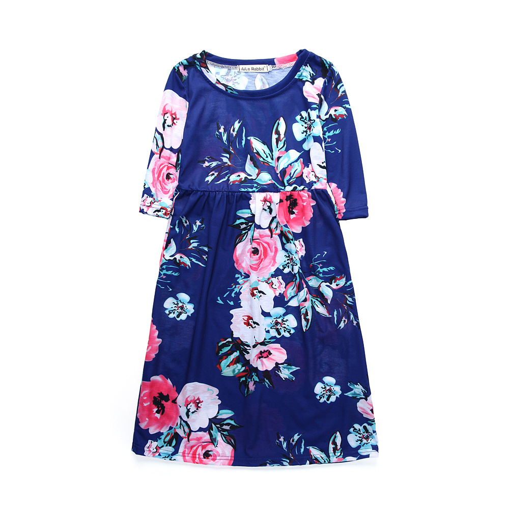 Baby Girl Floral Dress Kid Party Wedding Pageant Formal Long Sleeve Summer Prom Princess Dresses Girls Sundress Clothes 1-10 Yrs