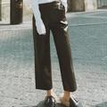 OFTBUY 2017 новая коллекция весна осень панк черный искусственный PU кожа свободные широкую ногу брюки лодыжки длина брюки женщин высокого качество