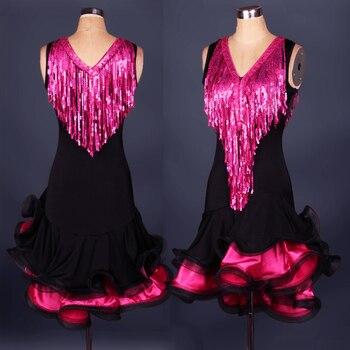 2016 New V-neck Style Latin Dance Costume Spandex Tassel Sequin Latin Dance Dress For Women Latin Dance Competition Dresses