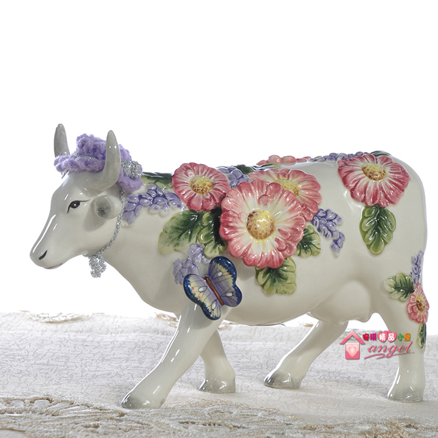 Ceramic Creative Cow Lady Girls Bull Home Decor Crafts Room Decoration  Handicraft Cattle Porcelain Wedding Decoration