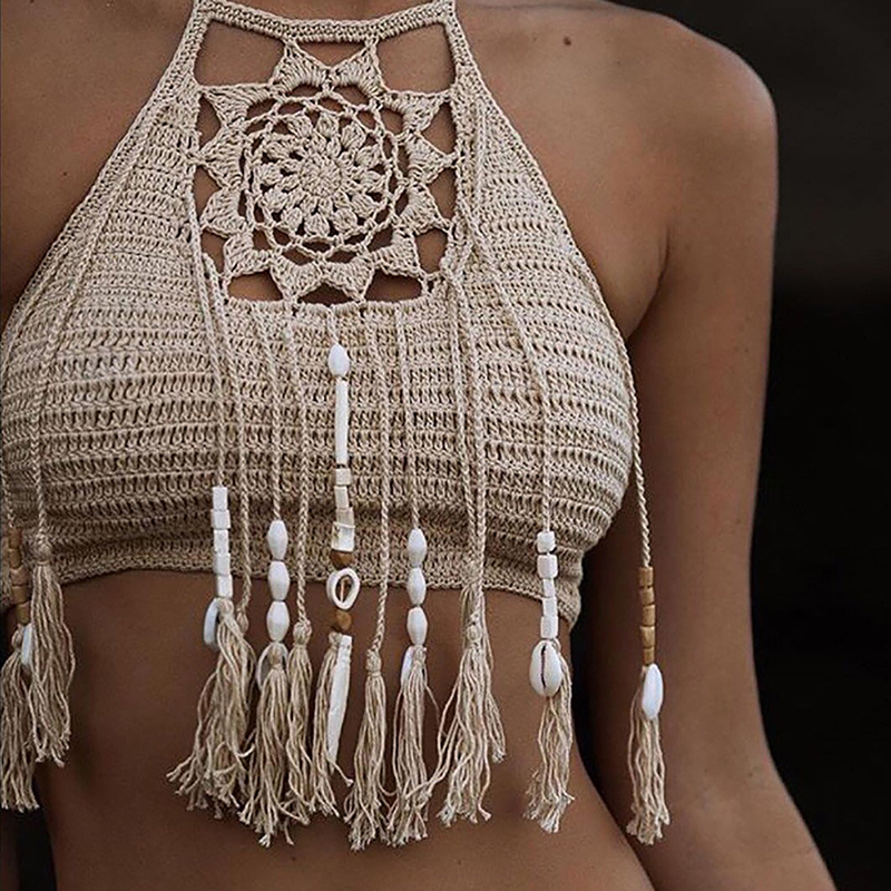 Boho Beach Bikini Halter Cami Women Crochet Lace Bralette Knit Bra   Tank   Crop   Top