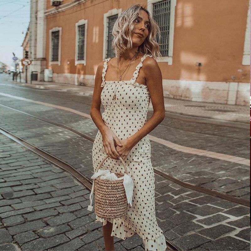 2019 Elegant England Women Dress Fashion Dots Printed Summer Strapless Sexy Ruffles Femme