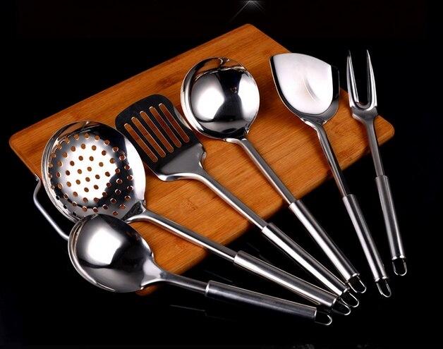 7 pièces par ensemble avec le support haute qualité en acier inoxydable outils de cuisine cuisine Sholve filtre cuillère soupe louche livraison gratuite