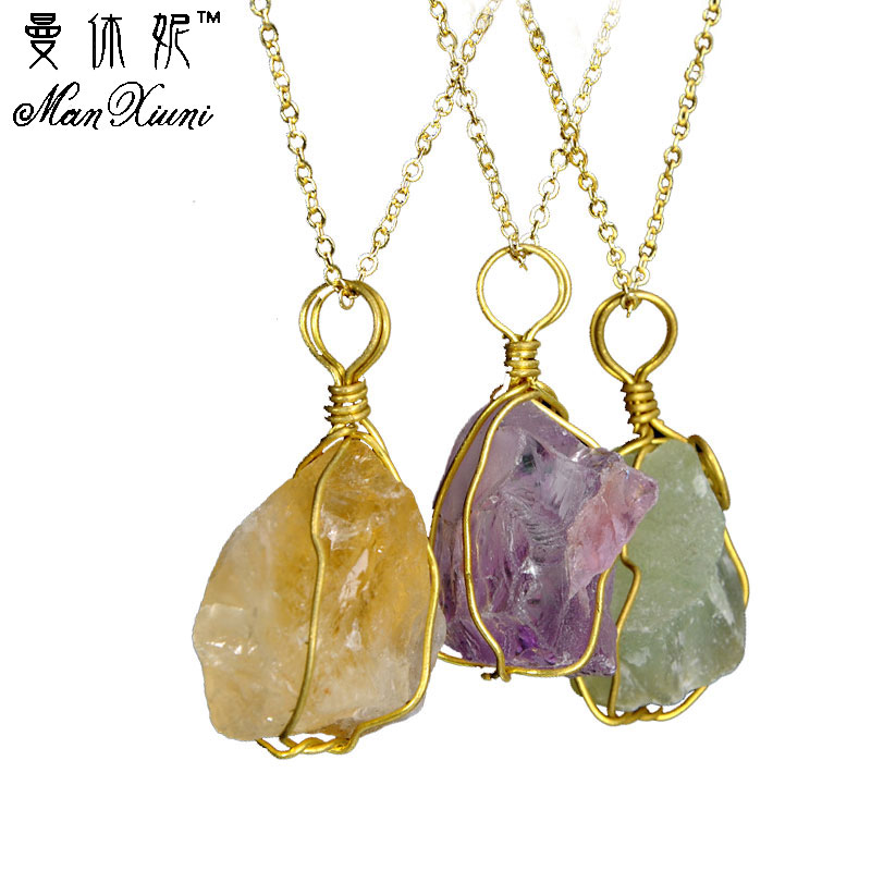New 1Pc Natural Gemstone Wrapped Amethyst Hexagonal Flowers Pendant Fit Necklace