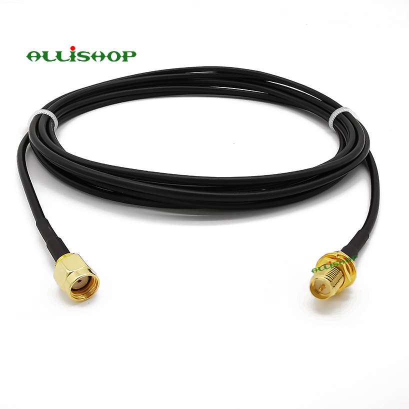 3/6/9 meterRG174 WiFi Antenna RP-SMA Male Plug to RP-SMA Female Jack Extension Coaxial Cable Cord fo