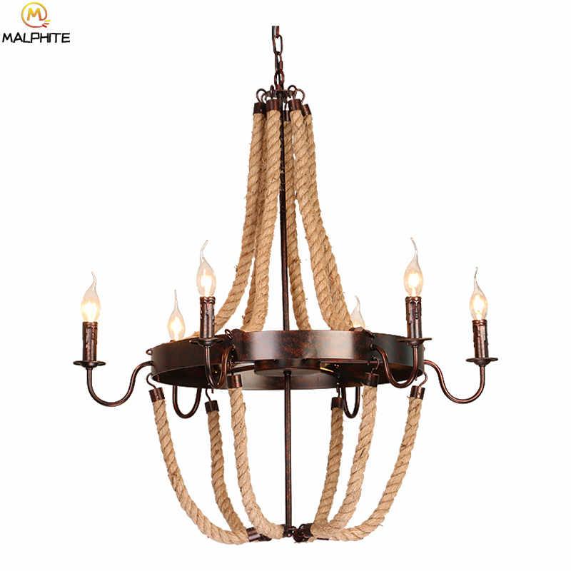Ретро люстра для зала освещения с металлической цепью E14 лампы в форме свечи лампы промышленные люстры лампы для дома подвесные светильники приспособление