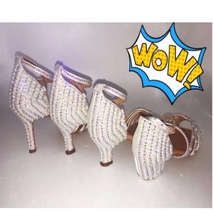 Image 5 - 2018 Sneakers BD 311 Girls Latin Dance Shoes Soft Bottom Adult Latin Shoes Diamond Shoe Add Drill Ballroom SALSA Pearl White HOT