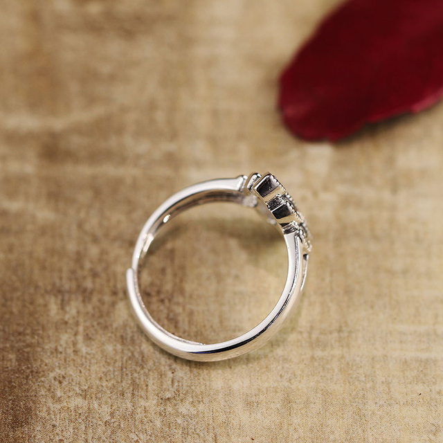 Real Pure Sterling Silver Jewelry 925 Mosaic Ring Party Rings For Women Natural Stone Opening Type Fine Jewellery Anillos