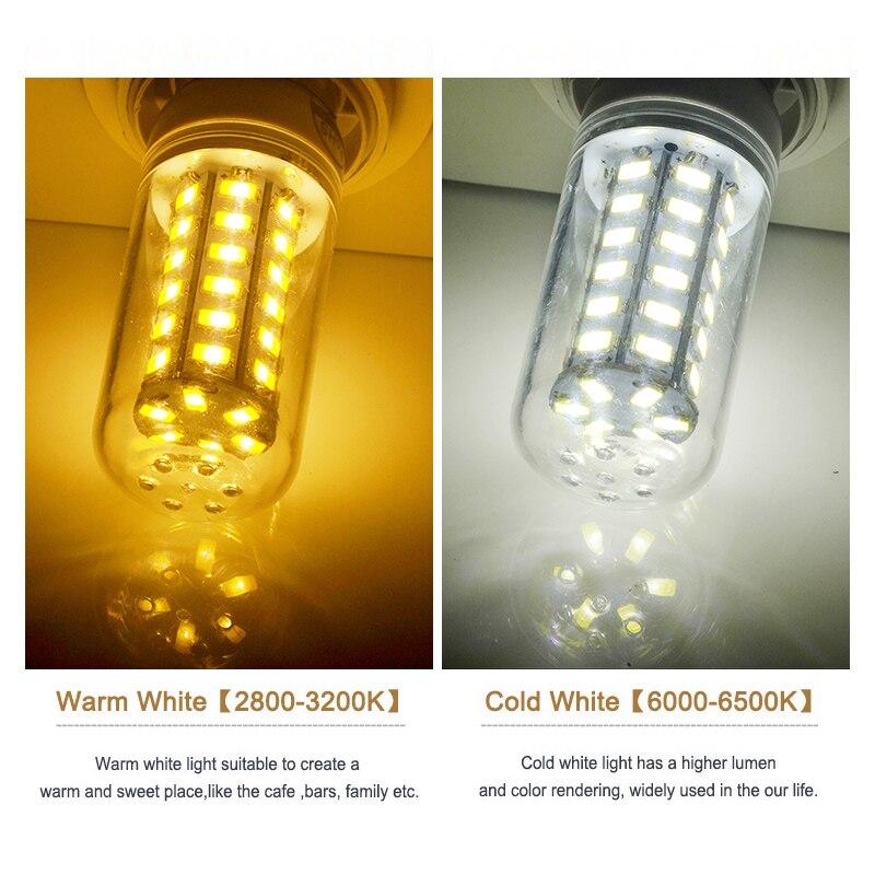 E27 LED Lamp E14 LED Bulb SMD5730 220V Corn Bulb 24 36 48 56 69 72LEDs Chandelier Candle LED Light For Home Decoration 5