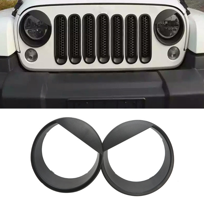 2x Bezels Front Light Headlight Angry Bird Trim Cover ABS For Jeep Wrangler 2007-2015 for car accessories