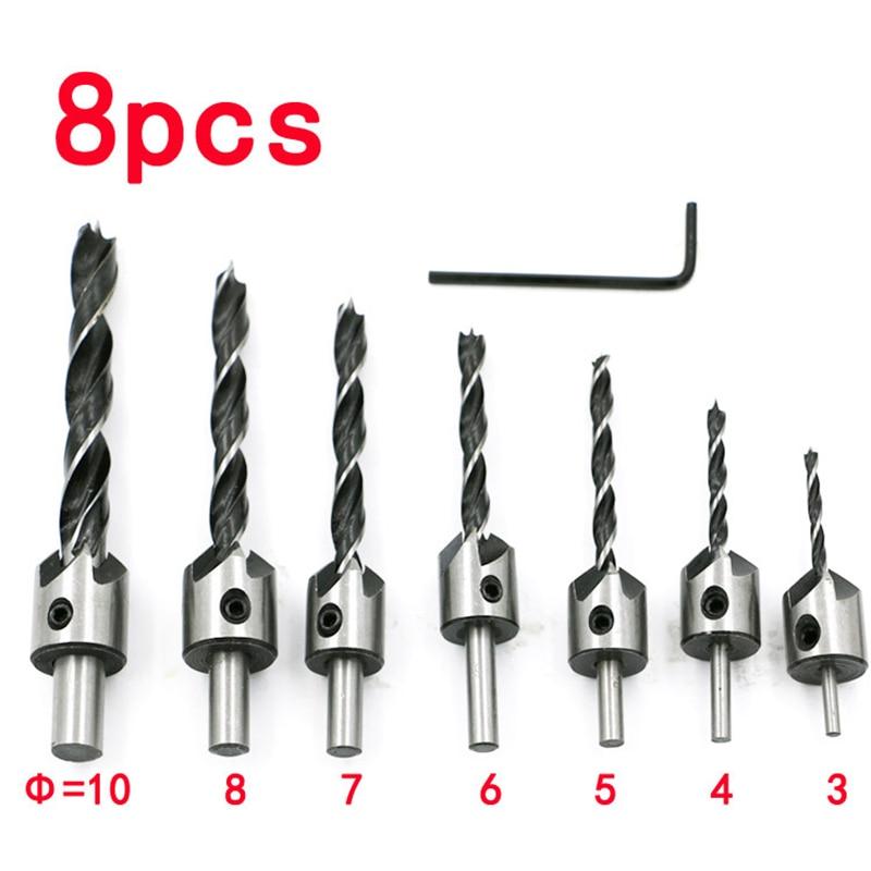 7pcs hss 5 flute countersink drill bit set reamer chamfer