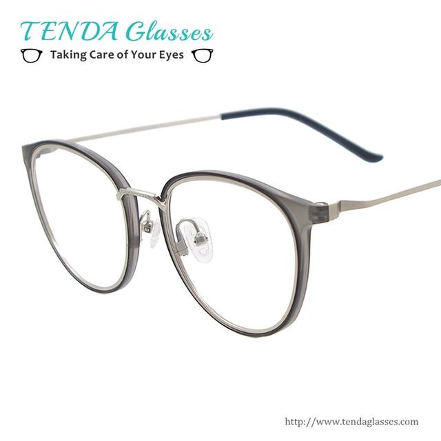 7a3747cdf98e8 Men   Women Round Lightweight Eyeglasses Full Rim Plastic Metal  Prescription Glasses Frame For Lenses Myopia