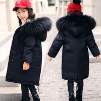 New High Quality Children Winter Jacket Girl Winter Coat Kids Warm Thick Fur Collar Hooded Long Down Coats For Teenage 5 14Y