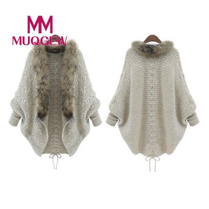 MUQGEW Top Quality Womens Christmas Batwing Long Sleeve Color Loose Knit Sweater Knitwear Tops winter coat women Drop Shipping