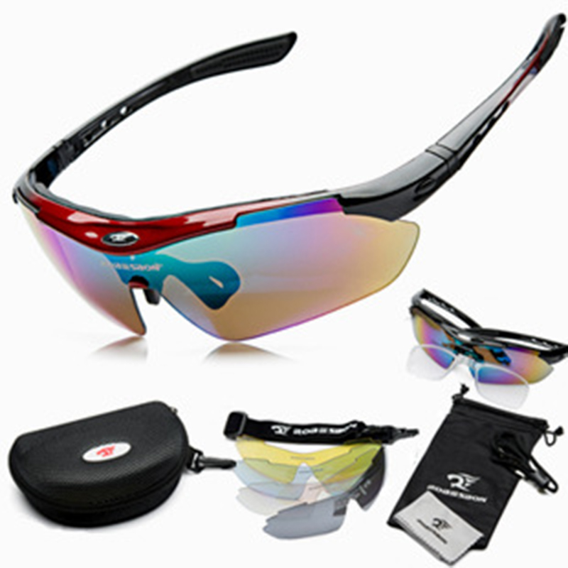 ROBESBON Outdoor Cycling Glasses HD Myopia Solar Sports Sunglasses Interchangeable Lenses Bicycle Eyewear Goggles for Men and Wo