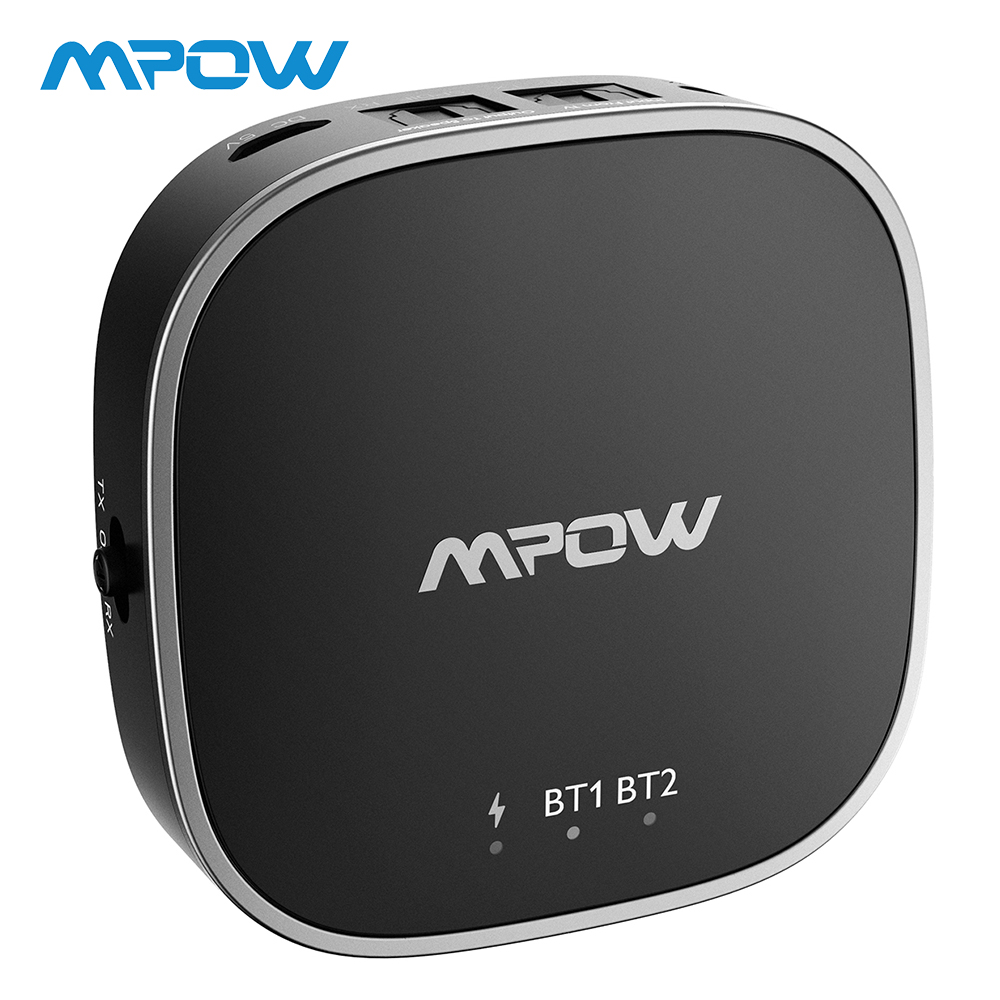 Mpow 2 in 1 Bluetooth 5.0 Transmitter Receiver APTX/APTX HD/APTX LL Wireless Adapter With Digital Toslink Aux Cable For Home/Car