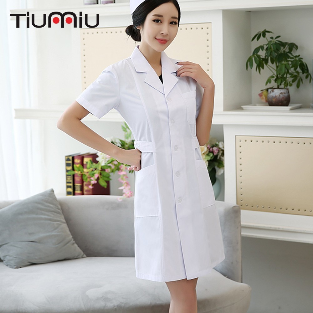 Women Medical Coat Clothing Female Doctor Nurse Uniform Summer Short Sleeve Hospital Clinic Lab Pharmacy Beauty Work Clothes