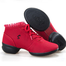 Square dance sneakers for women dance shoes modern jazz shoes red lace female soft bottom sports