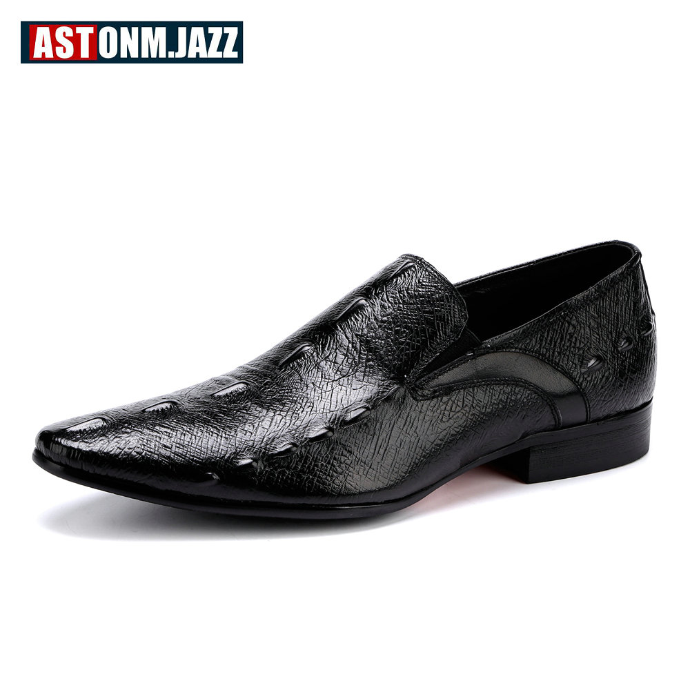 Men's Wedding Dress Shoes Mens Casual Leather Oxfords Shoes Crocodile Point Toe Bussiness Brogues Moccasin Slip On Velet Loafers top quality crocodile grain black oxfords mens dress shoes genuine leather business shoes mens formal wedding shoes