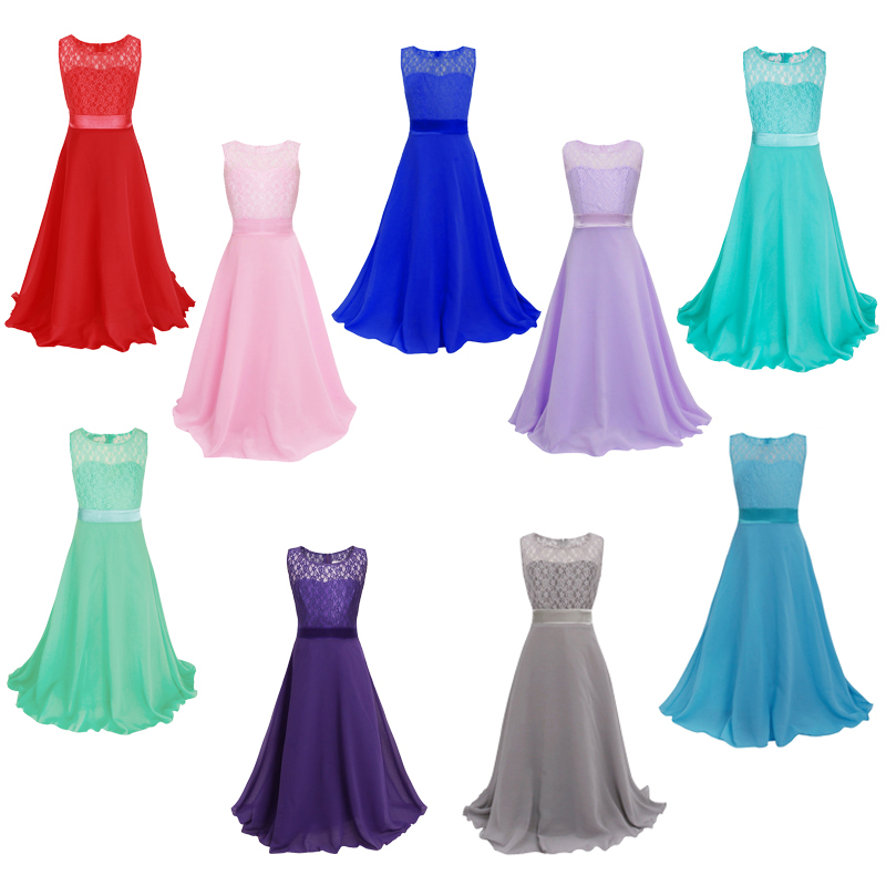 Flower Girls Dress Maxi Long Formal Ball Gown for Kids Wedding Bridesmaid Party