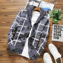 Autumn fashion new male handsome cardigan sweater jacket stylish single-breasted turn-down collar plaids sweaters for men