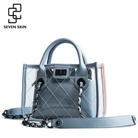 SEVEN SKIN Women PU Leather Messenger Bags Transparent Design Crossbody Bag Ladies Shoulder Bags Small Chain