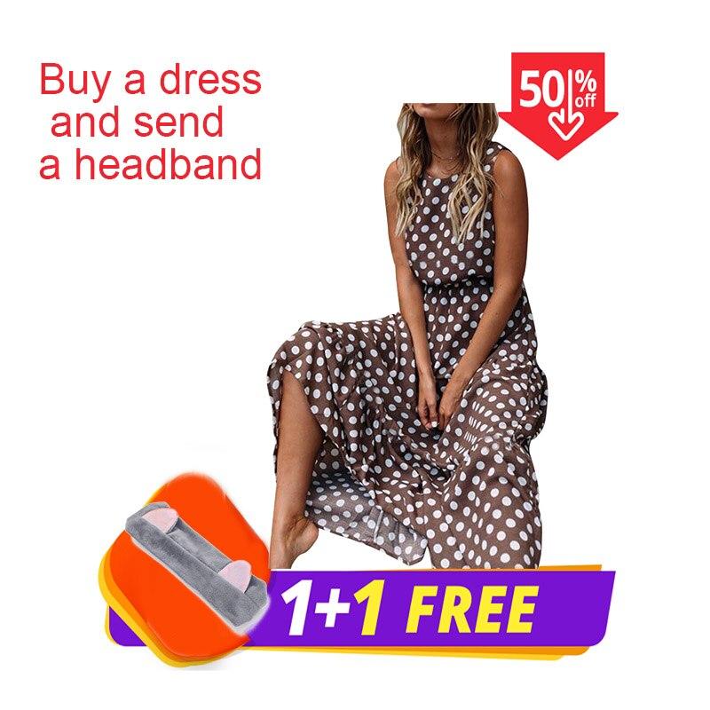 Feitong Dot Printing  Long Dress Women Sleeveless O Neck Coffee Casual Dresses Lady Summer Beach Party Dress Sundress Vestidos