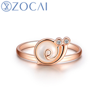 ZOCAI Ring De Kleine Slak Real 0.01 Ct Diamant 18 K Rose Goud (Au750) W80072T