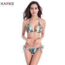 цена на XARKE Sexy Bikini 2018 Underwire Print Swimwear Women Fashion Brazilian Halter Thong Bikini Push Up Set Girl Summer New Swimsuit