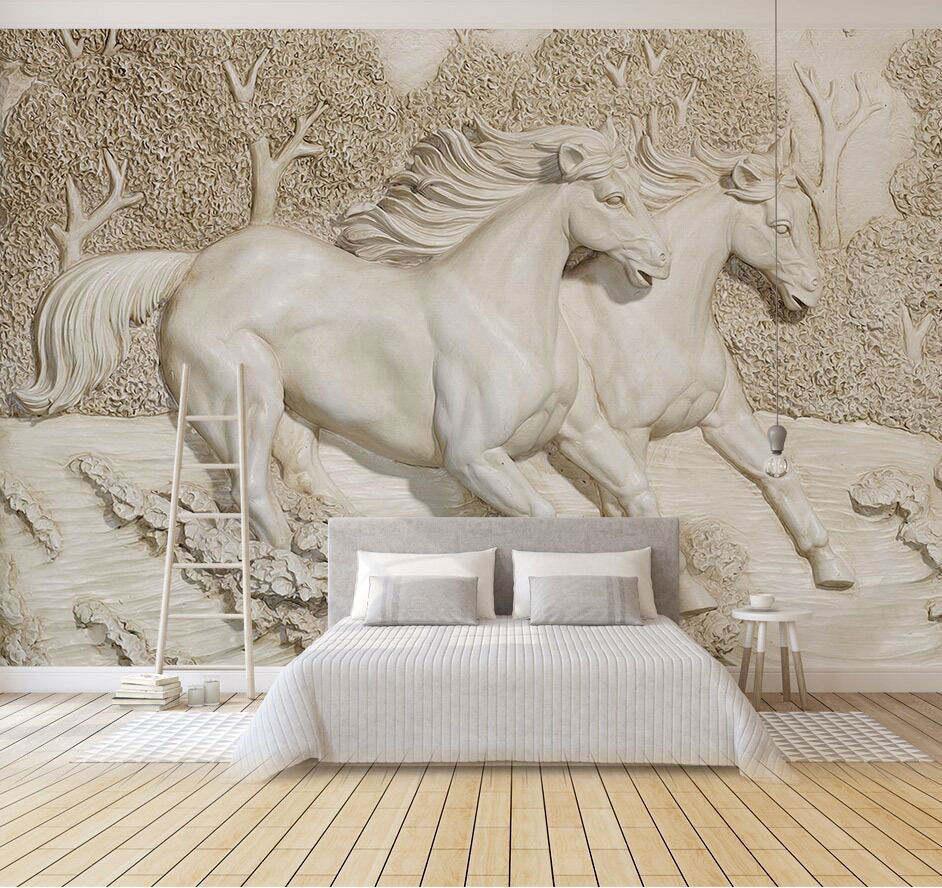 Custom Relief Horse Forests 3d Wall Mural Wallpaper for Sofa Background 3D Wall Murals large Aninal mural wall paper custom 3d photo wallpaper mural nordic cartoon animals forests 3d background murals wall paper for chirdlen s room wall paper