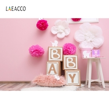 Laeacco Pink Wallpaper Backdrops Wooden Baby Portrait Customized Photography Background Photographic For Photo Studio