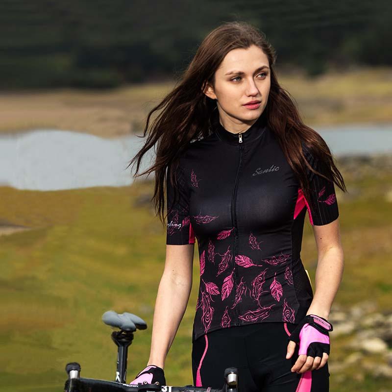 Été femmes cyclisme Maillot à manches courtes vtt Maillot vélo chemise descente Maillot femmes haute qualité 2019 Santic vélo de montagne