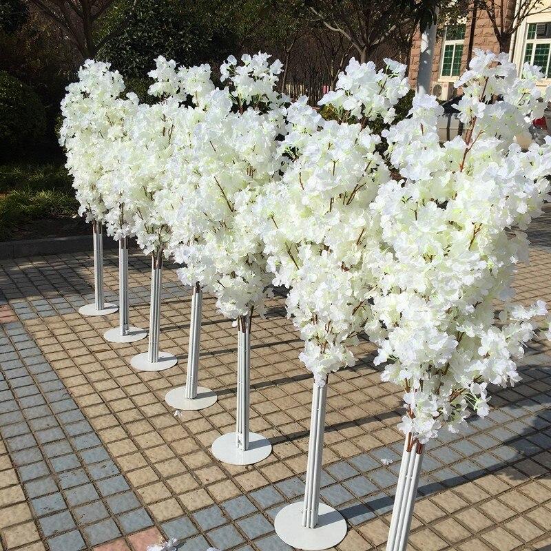 1.5 M 5ft hauteur blanc artificiel cerisier fleur arbre romain colonne route conduit pour décor de mariage centre commercial ouvert accessoires