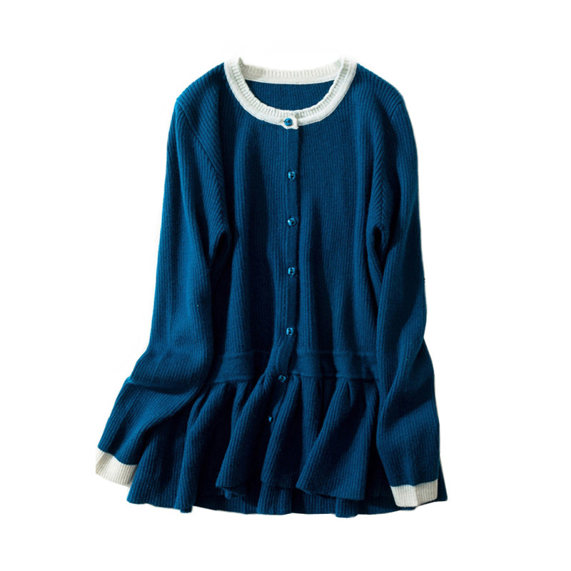Ruffle Cardigans Sweater Women Autumn Winter Wool Cardigan Casual Contrast Color Sweater Cashmere Knitting Jackets Coat Tops