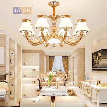 Led e14 postmoderno hierro cristal oro blanco candelabro iluminación Lamparas De Techo suspensión luminaria Lampen para vestíbulo