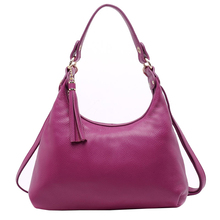 Top Quality Women Genuine Leather Shoulder Bag Hobos Handbag Tassel Bag For Mother's Day Gift, Casual Party And Dating KSB109