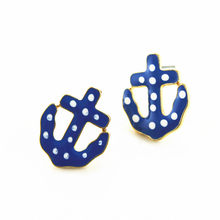XQ Free shipping 2015 The new BJ dot and striped navy style anchor earrings The new popular banquet texture(China)