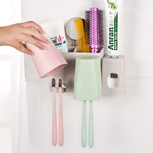 Wall suction cup couples wash storage suit with toothpaste squeezing device 21.2*11.8*6cm free shipping