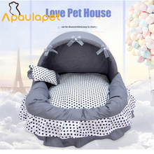 APAULAPET гнездо для питомца для победителя и осени серый коричневый домик для собаки кошки кружевной бант гнездо для кошки кровать для собаки с маленькой подушкой