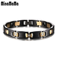 316L Stainless Steel Bracelet Bio Elements Energy Magnetic Health Hematite Bracelet Men Brazil Style Black Ceramic