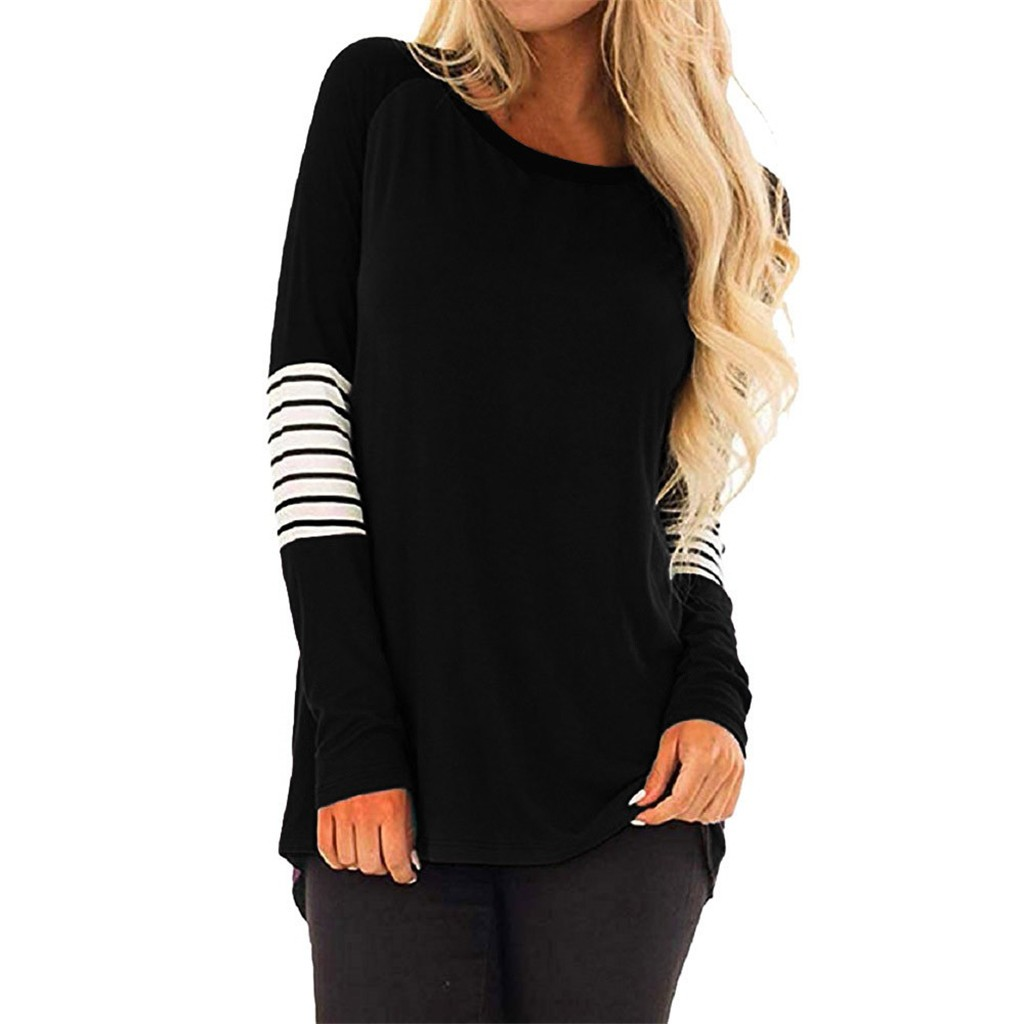 Women T shirts and camiseta mujer Plus Size Women Stripe Casual Color Block T-Shirt Loose Long Sleeve Top