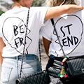 2018 Harajuku Cotton Best Friends Matching T-shirts Fashion Bff T-Shirt Girls Women Sisters Tops Tee Shirt Femme Camisetas Mujer