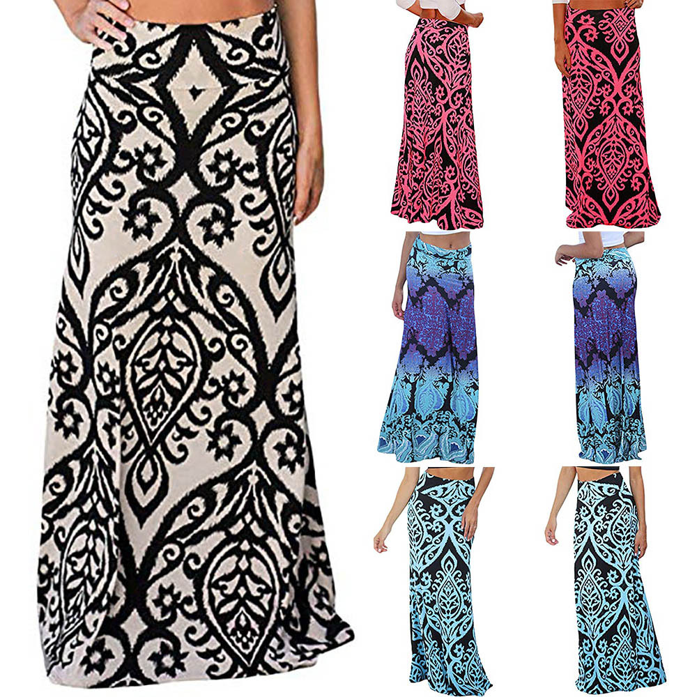 Womail Women Skirt Summer Ladies Vintage Coral Print High Waist Skater Skirt Long Maxi Skirt Casual Daily 2019 Dropship F10