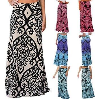2a176eff85 Womail falda de las mujeres de verano Vintage Coral impresión de alta  cintura falda Maxi Falda larga Casual diaria 2019 dropship f10