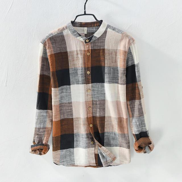 Mens Linen Cotton Shirts Patchwork Long Sleeve Casual Shirt Men Summer Mandarin Collar Social Business Dress Shirts Male TS-339