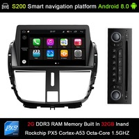 Android 8.0 system Octa 8 Core CPU 2G Ram 32GB Rom Car DVD Player Radio for Peugeot 207 GPS Navigation