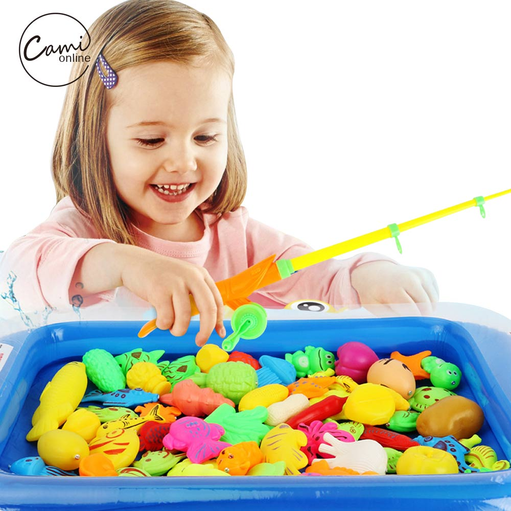 22Pcs/Lot Kid Outdoor Play Magnetic Fishing Game Summer Childrens Fishing Toy With Pool Inflator Rod Net 3D Fish Model Toys