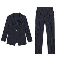 New Arrival Fashion Pants Suits Women Blazer 2 Two Piece Set Striped Jacket & Pant Blazers Femme Mujer