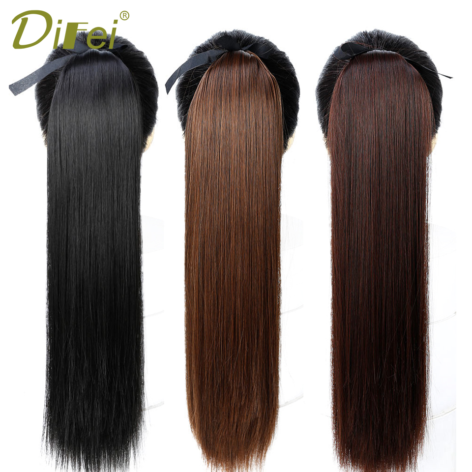 DIFEI 5 Size Long Straight Drawstring Synthetic Ponytail Black/Brown Heat Resistance