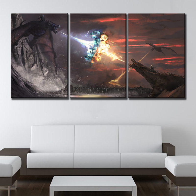 3 Piece US TV Series Game of Thrones Season 8 Ice and Fire Dragon Movie Poster Canvas Painting Wall Arr Home Decor image